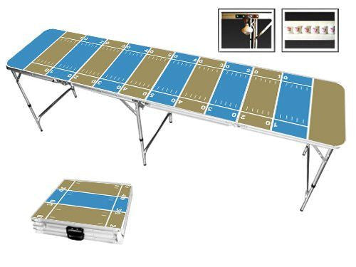Dark Gold & Turquoise Football Field Beer Pong Table