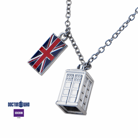 Dr. Who Union Jack/Phone Booth Necklace