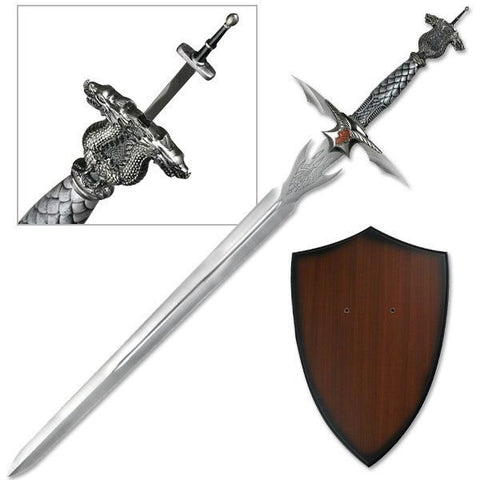 Dragon Sword with Wall Plaque and Hidden Dagger