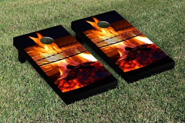 Flaming Grill Cornhole Game Set
