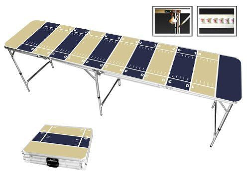 Gold & Navy Blue Football Field Beer Pong Table