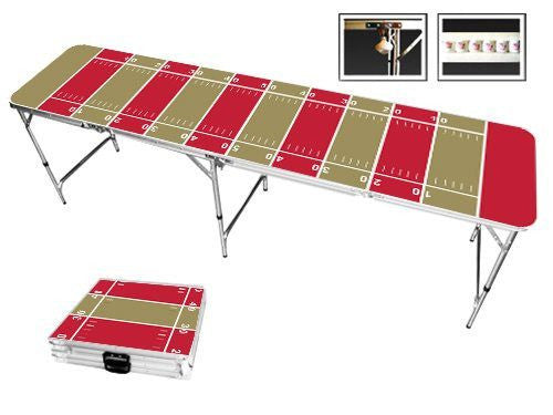Gold & Red Football Field Beer Pong Table