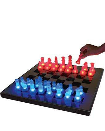 LED Glow Chess Set Blue and Red