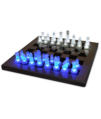 LED Glow Chess Set Blue and White