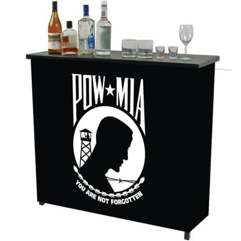 POW Metal 2 Shelf Portable Bar Table with Carrying Case