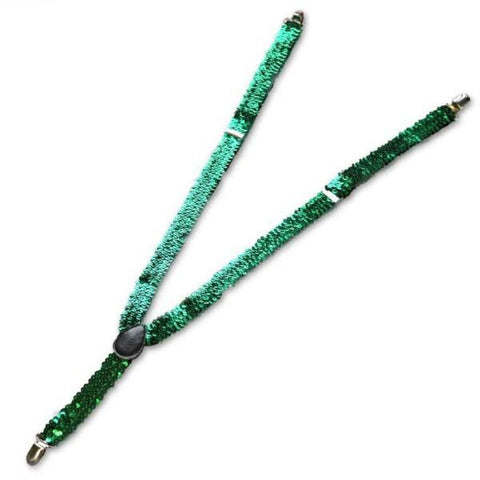 Green Sequin Suspenders