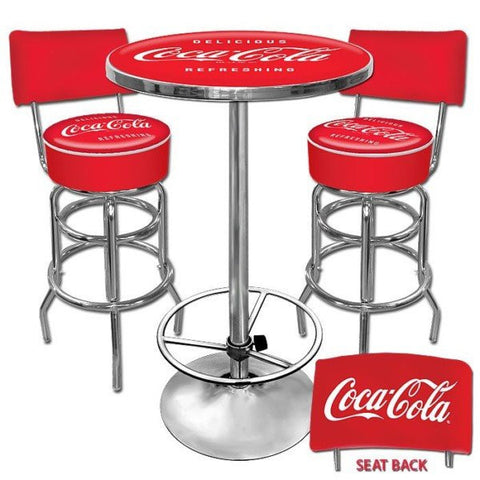 Ultimate Coca-Cola Gameroom Combo 2 Stools with Back and Table