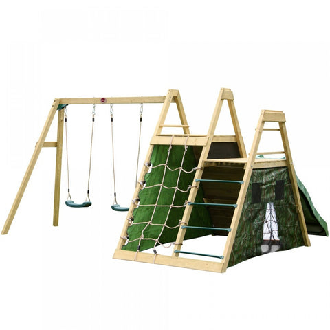 Climbing Pyramid Play Centre with Climbing Wall and Wave Slide - Childhood Home - kids bedrooms & play spaces
