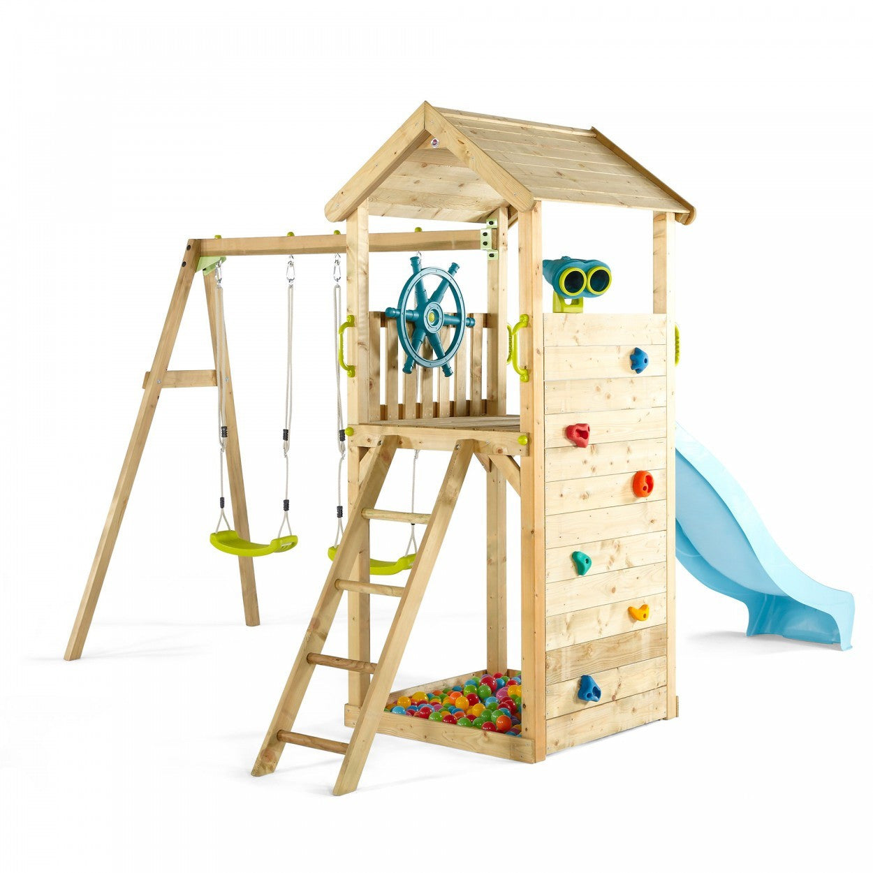 Plum Lookout Tower Wooden Play Centre With Swings Binoculars And Ball Pit