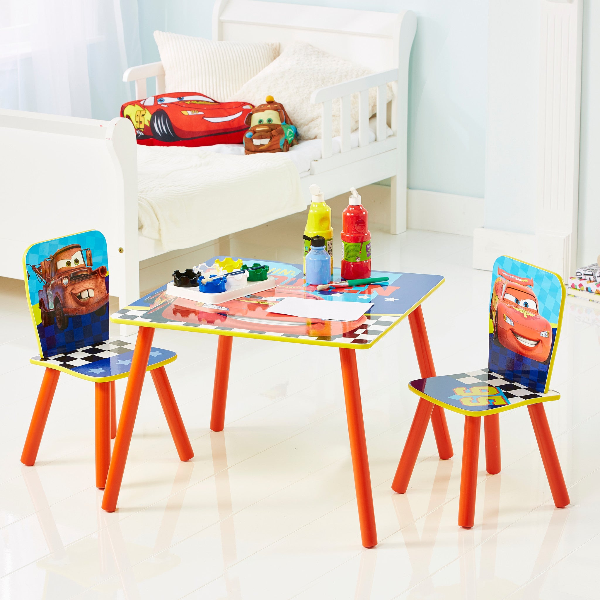 Disney Pixar Cars 2 Lightning McQueen Desk And Stool Set Worlds Apart Kids  Bedroom