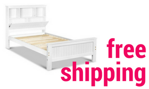 Pine King Single Bed, White with Shelving and Storage - Childhood Home - kids bedrooms & play spaces