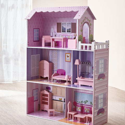 Teamson Kids - Fancy Mansion Doll House (w/ 13pcs furniture)