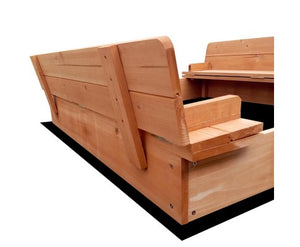 Square Timber Sandpit with Cover and Built in Seat and Ground Sheet - Childhood Home - kids bedrooms & play spaces