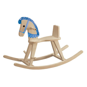 Teamson Kids- Zoo Kingdom Natural Rocking Horse w/Blue Pad