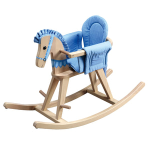 """Teamson Kids- Zoo Kingdom Natural Rocking Horse w/Blue Pad"" - Childhood Home - kids bedrooms & play spaces"