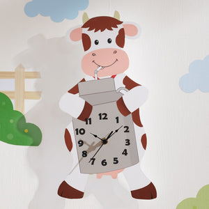 """Fantasy Fields - Happy Farm Cow Wall Clock"" - Childhood Home - kids bedrooms & play spaces"