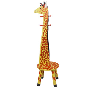 Teamson Kids- Zoo Kingdom Giraffe High-Backed Stool with Coat Rack