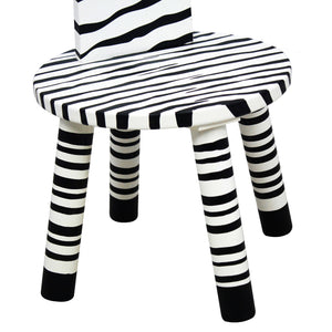 Teamson Kids- Zoo Kingdom Zebra high backed stool w/coat rack