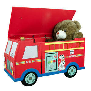 Fantasy Fields- Fire Engine Toy Box On Wheels - Childhood Home - kids bedrooms & play spaces