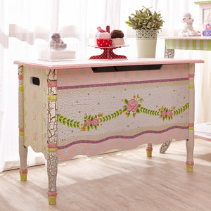 Crackled Rose Toy Box - Childhood Home - kids bedrooms & play spaces