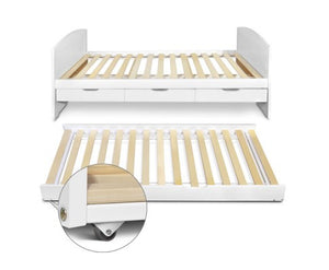 Single Pine Timber Bed Frame with Trundle and Storage, White - Childhood Home - kids bedrooms & play spaces