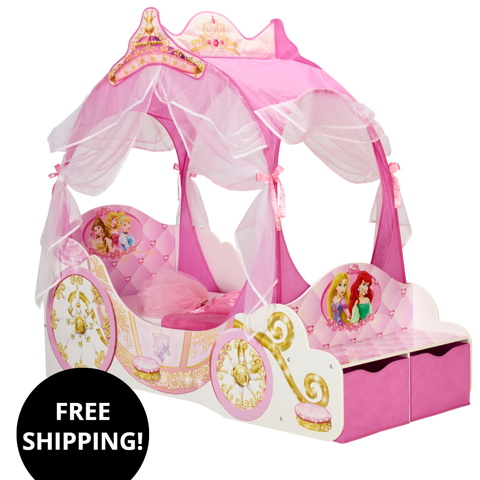 Disney Princess Carriage Toddler Bed With Canopy With Storage