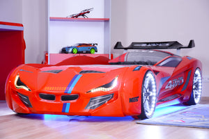 Flash GT Premium Euro Racing Car Bed with Lights and Sounds, White - Childhood Home - kids bedrooms & play spaces