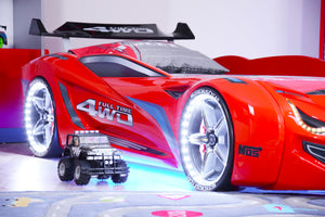 DEMO MODEL Flash GT Premium Euro Racing Car Bed with Lights and Sounds, Black - Childhood Home - kids bedrooms & play spaces