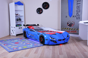 Flash GT Premium Euro Racing Car Bed with Lights and Sounds, Blue - Childhood Home - kids bedrooms & play spaces