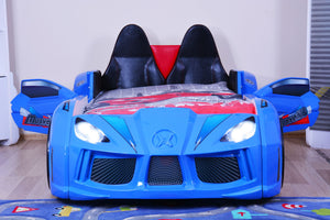 GT Turbo Race Car Bed with Opening Doors, Lights and Sounds, Blue - Childhood Home - kids bedrooms & play spaces
