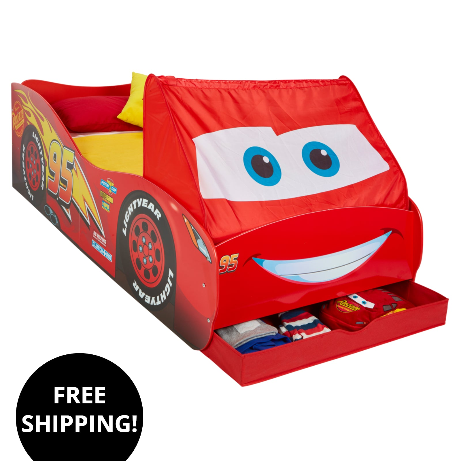 Lightning Mcqueen Cars Single Bed With Storage