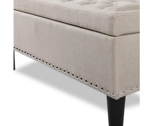 Tuffed Fabric Cushion Ottoman with Lift-Up Storage, Taupe