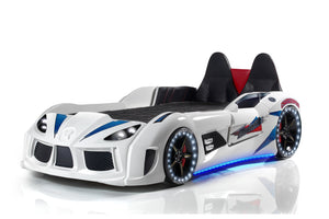 GT Turbo Race Car Bed with Opening Doors, Lights and Sounds, White - Childhood Home - kids bedrooms & play spaces