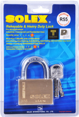 Solex Brass Padlock 55mm