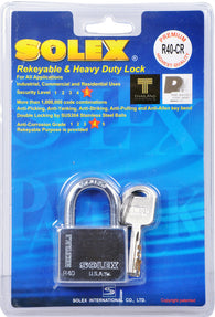 Solex Chrome Padlock Long 40mm