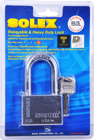 Solex Chrome Padlock Long 55mm