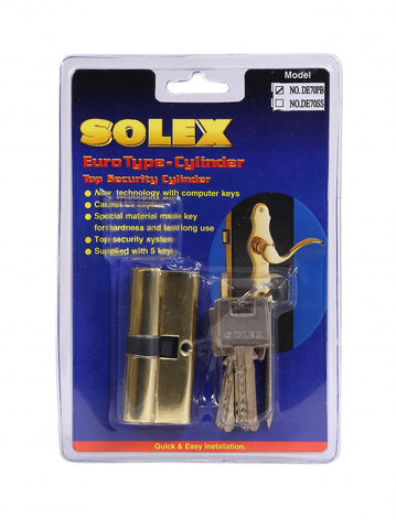 Solex Door Lock Cylinder 70MM DE70PB with Computer Keys