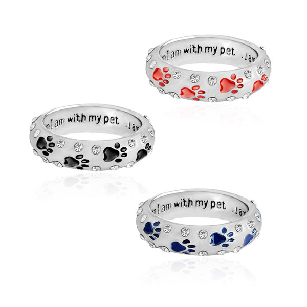 'I Am Complete When I'm With My Pet' - Dog Paw & Footprints Ring