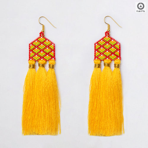 Bikaner Yellow, Green and Red Stylized Earrings