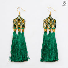 Dark Green and Gold Stylized Earrings
