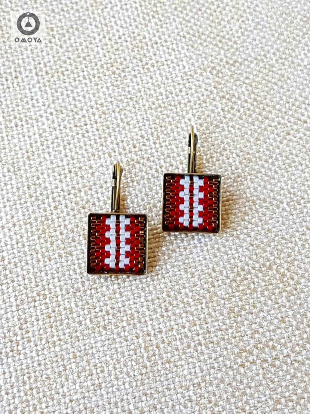 Stripe Earrings in Deep Red, Bronze and Cream