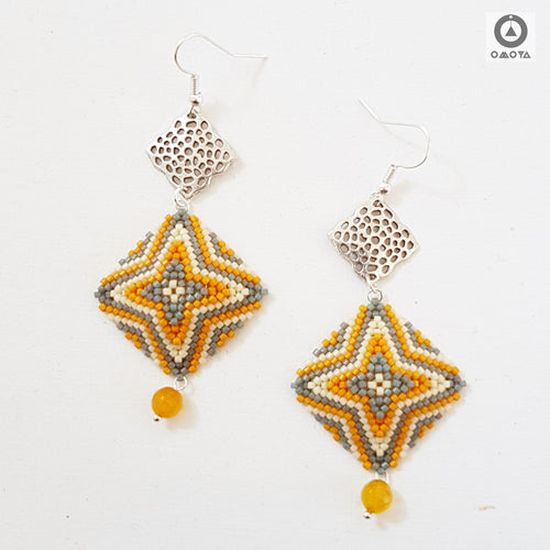 Chaukon Earrings - Yellow, Grey and Cream