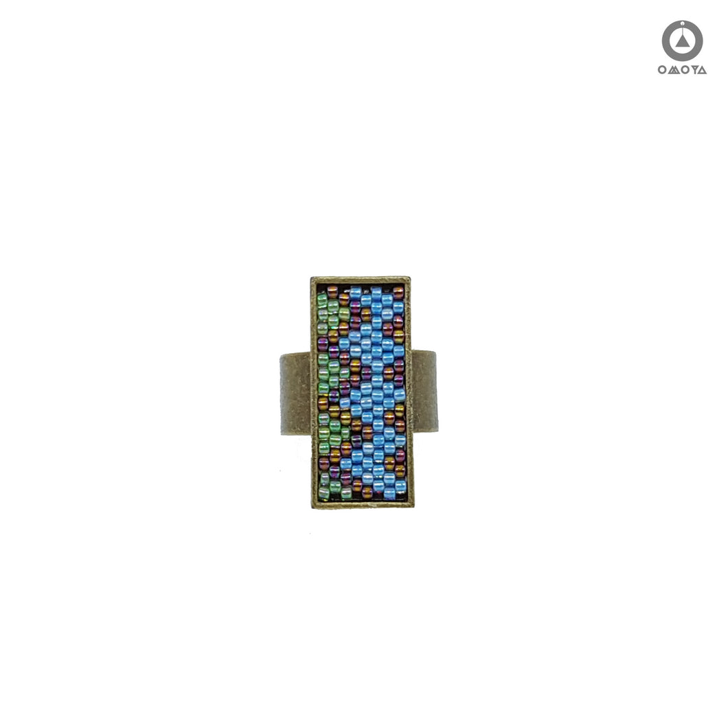 Zig Zag Ring in Blue and Green