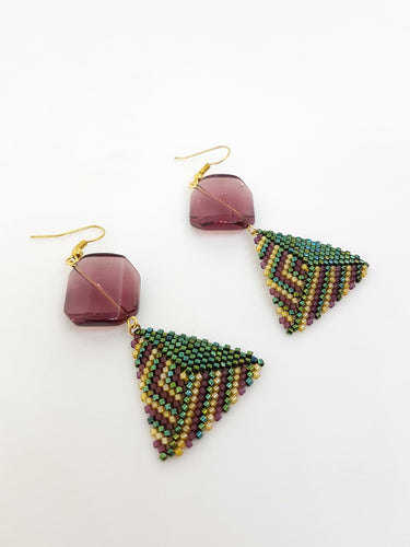 Triangle Earrings in Mauve, Green and Gold*Reserved*