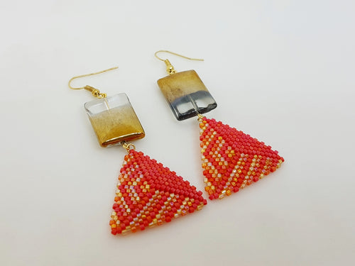 Triangle Earrings in Pink, Orange and Gold*Reserved*