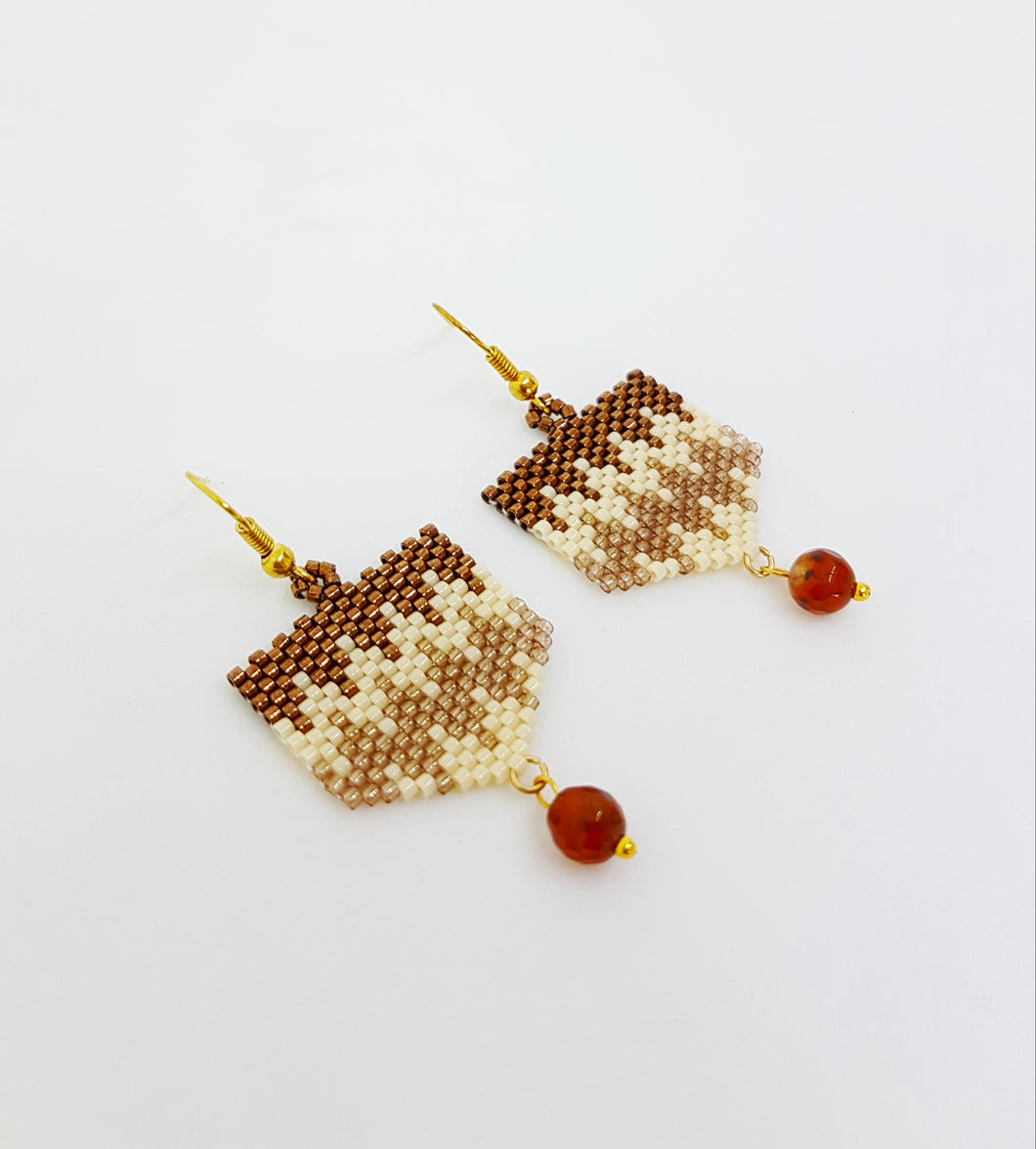 Bronze, Cream and Topaz Earrings