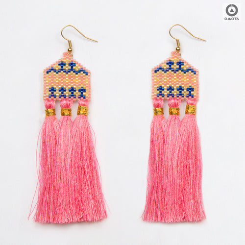 Gaudi Pink and Blue Stylized Earrings