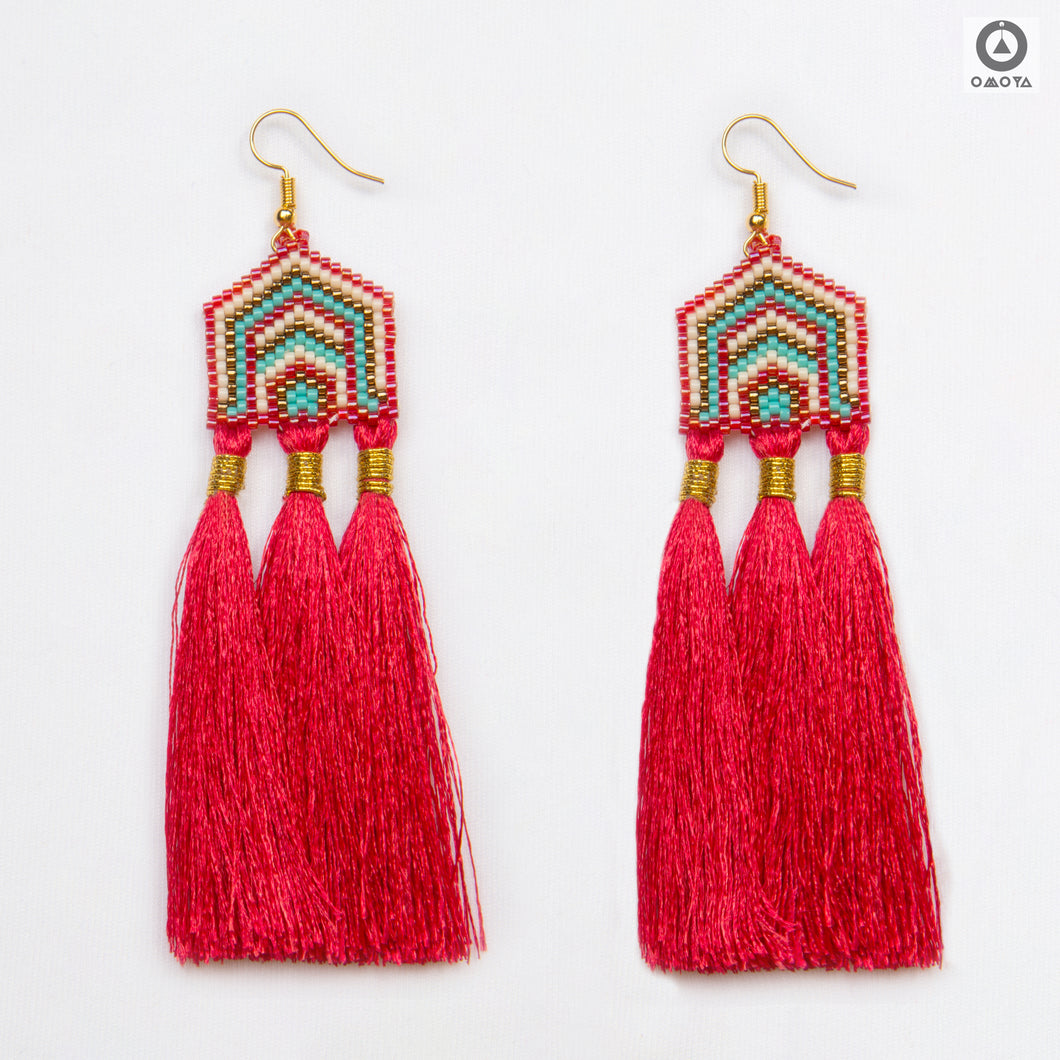 Masai Red, Blue and White Stylized Earrings