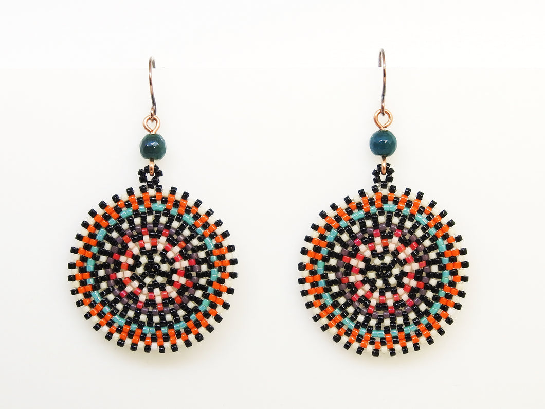 Orange Wheel Earrings