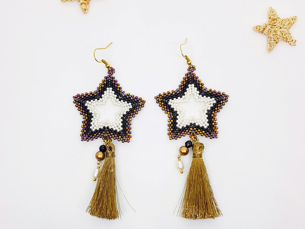 Star Earrings in Black, Bronze and Iris